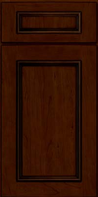 Square Recessed Panel - Solid (AB3C) Cherry in Chocolate w/Ebony Glaze - Base