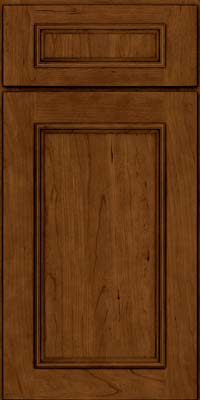 Square Recessed Panel - Solid (AB3C) Cherry in Ginger w/Sable Glaze - Base