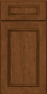 Square Recessed Panel - Solid (AB3C) Cherry in Rye w/Sable Glaze - Base