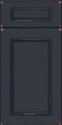 Square Recessed Panel - Solid (AB3C) Cherry in Vintage Midnight w/ Onyx Patina - Base