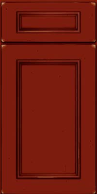 Square Recessed Panel - Solid (AB3C) Cherry in Vintage Cardinal w/Onyx Patina - Base