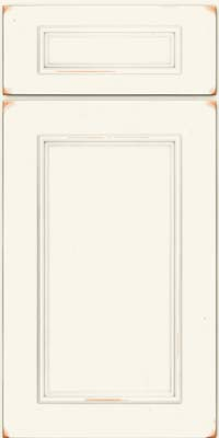 Square Recessed Panel - Solid (AB3C) Cherry in Vintage Dove White - Base