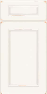 Square Recessed Panel - Solid (AB3C) Cherry in Vintage Dove White w/ Cinder Patina - Base