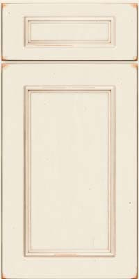 Square Recessed Panel - Solid (AB3C) Cherry in Vintage Dove White w/Cocoa Patina - Base