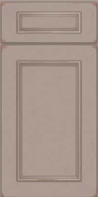 Square Recessed Panel - Solid (AB3C) Cherry in Vintage Pebble Grey w/ Cocoa Patina - Base
