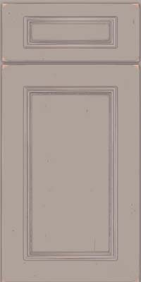 Square Recessed Panel - Solid (AB3C) Cherry in Vintage Pebble Grey w/ Coconut Patina - Base