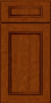 Square Recessed Panel - Solid (AB3M) Maple in Cinnamon w/Onyx Glaze - Base