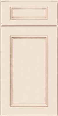 Square Recessed Panel - Solid (AB3M) Maple in Dove White w/Cocoa Glaze - Base