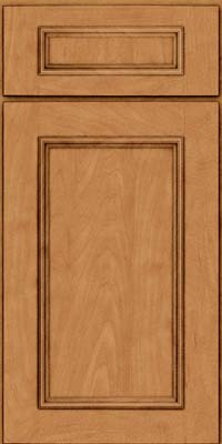 Square Recessed Panel - Solid (AB3M) Maple in Ginger w/Sable Glaze - Base