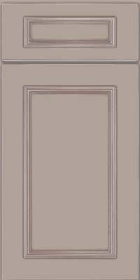 Square Recessed Panel - Solid (AB3M) Maple in Pebble Grey w/ Cocoa Glaze - Base