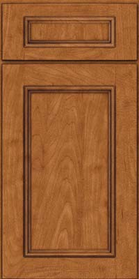 Square Recessed Panel - Solid (AB3M) Maple in Praline w/Onyx Glaze - Base