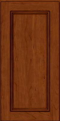Square Recessed Panel - Solid (AB3C) Cherry in Cinnamon w/Onyx Glaze - Wall