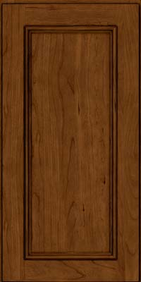 Square Recessed Panel - Solid (AB3C) Cherry in Ginger w/Sable Glaze - Wall
