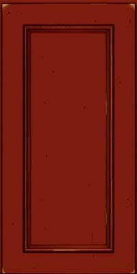 Square Recessed Panel - Solid (AB3C) Cherry in Vintage Cardinal w/Onyx Patina - Wall