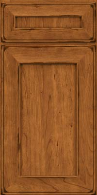 Square Recessed Panel - Solid (AB6C) Cherry in Burnished Golden Lager - Base