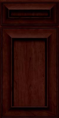 Square Recessed Panel - Solid (AB6C) Cherry in Cabernet w/Onyx Glaze - Base