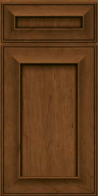 Square Recessed Panel - Solid (AB6C) Cherry in Rye w/Onyx Glaze - Base