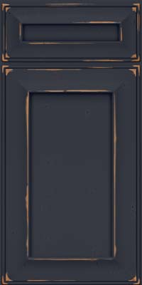 Square Recessed Panel - Solid (AB6C) Cherry in Vintage Midnight w/ Onyx Patina - Base