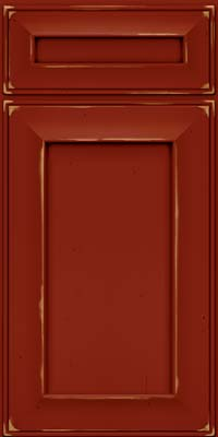 Square Recessed Panel - Solid (AB6C) Cherry in Vintage Cardinal - Base