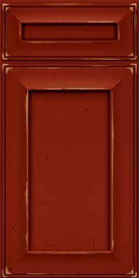 Square Recessed Panel - Solid (AB6C) Cherry in Vintage Cardinal w/Onyx Patina - Base