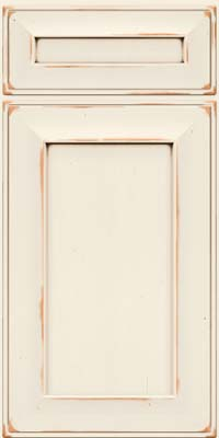 Square Recessed Panel - Solid (AB6C) Cherry in Vintage Dove White w/Cocoa Patina - Base