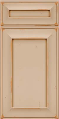 Square Recessed Panel - Solid (AB6C) Cherry in Vintage Mushroom w/Cocoa Patina - Base