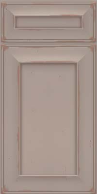Square Recessed Panel - Solid (AB6C) Cherry in Vintage Pebble Grey w/ Cocoa Patina - Base