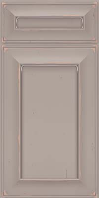 Square Recessed Panel - Solid (AB6C) Cherry in Vintage Pebble Grey w/ Coconut Patina - Base