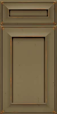 Square Recessed Panel - Solid (AB6C) Cherry in Vintage Sage w/Cocoa Patina - Base