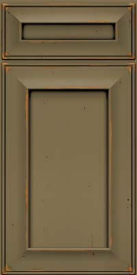 Square Recessed Panel - Solid (AB6C) Cherry in Vintage Sage w/Onyx Patina - Base