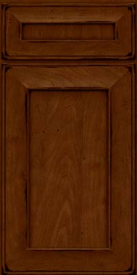 Square Recessed Panel - Solid (AB6M) Maple in Burnished Chestnut - Base