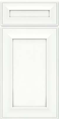 Square Recessed Panel - Solid (AB6M) Maple in Dove White w/ Cinder Glaze - Base