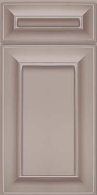 Square Recessed Panel - Solid (AB6M) Maple in Pebble Grey w/ Coconut Glaze - Base
