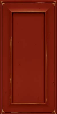 Square Recessed Panel - Solid (AB6C) Cherry in Vintage Cardinal w/Onyx Patina - Wall