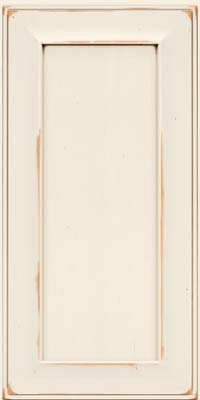 Square Recessed Panel - Solid (AB6C) Cherry in Vintage Dove White w/Cocoa Patina - Wall