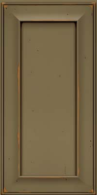 Square Recessed Panel - Solid (AB6C) Cherry in Vintage Sage w/Cocoa Patina - Wall