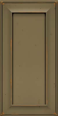 Square Recessed Panel - Solid (AB6C) Cherry in Vintage Sage w/Onyx Patina - Wall
