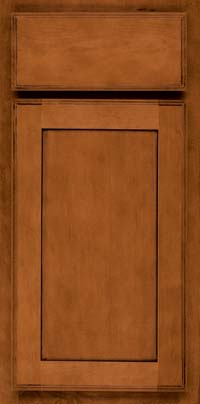 Square Recessed Panel - Veneer (AC4M) Maple in Chestnut w/Onyx Glaze - Base