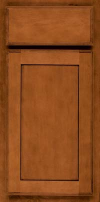 Square Recessed Panel - Veneer (AC4M) Maple in Cinnamon w/Onyx Glaze - Base
