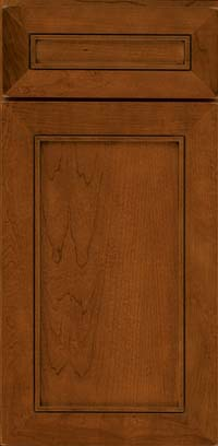 Square Recessed Panel - Veneer (AC1C) Cherry in Antique Chocolate w/Mocha Glaze - Base