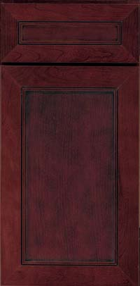 Square Recessed Panel - Veneer (AC1C) Cherry in Cabernet w/Onyx Glaze - Base