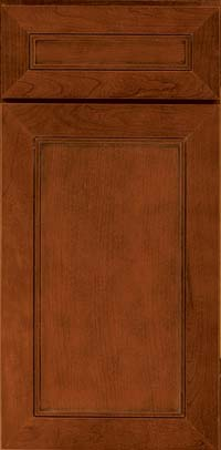 Square Recessed Panel - Veneer (AC1C) Cherry in Cinnamon w/Onyx Glaze - Base
