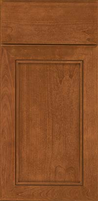 Square Recessed Panel - Veneer (AC1C) Cherry in Ginger w/Sable Glaze - Base