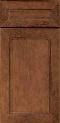 Square Recessed Panel - Veneer (AC1C) Cherry in Rye w/Onyx Glaze - Base