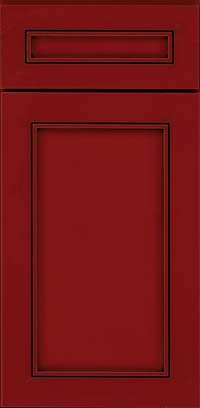 Square Recessed Panel - Veneer (AC1M) Maple in Cardinal w/Onyx Glaze - Base