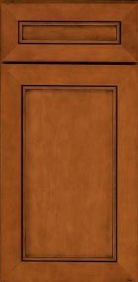 Square Recessed Panel - Veneer (AC1M) Maple in Chestnut w/Onyx Glaze - Base