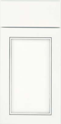 Square Recessed Panel - Veneer (AC1M) Maple in Dove White w/ Cinder Glaze - Base