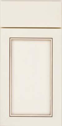 Square Recessed Panel - Veneer (AC1M) Maple in Dove White w/Cocoa Glaze - Base