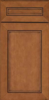 Square Recessed Panel - Veneer (AC1M) Maple in Praline w/Onyx Glaze - Base