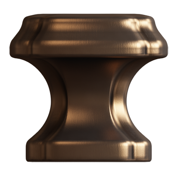 Brushed Bronze Empire Square Knob - Alternate View